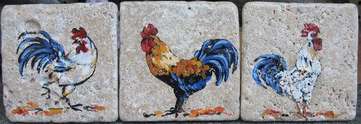 "Custom Made 4""X4"" Handpainted Tiles (Roosters)"