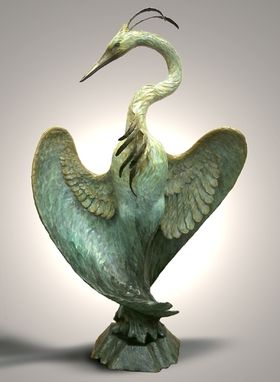 Custom Made Bronze Sculpture, Monumental Heron,