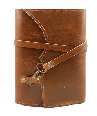 Custom Made Nottinghill Refillable Leather Journal With Antique Key – Cognac Tan