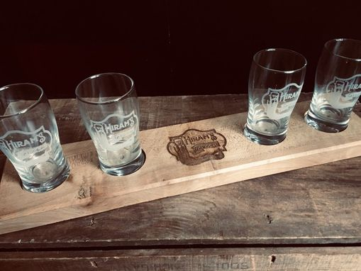Custom Made Beer Flight. Reclaimed Wood. Etched Glassware Included. Brewery. Fathersdaygift. Craftbeer. Logo