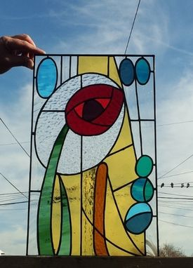 "Custom Made Stained Glass Panel -  ""Abstract Rose"" (P-30)"