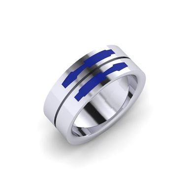 Custom Made Droid Double Band, Enamel Ring
