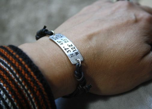 Custom Made Womens Coordinates Leather Cord Bracelet
