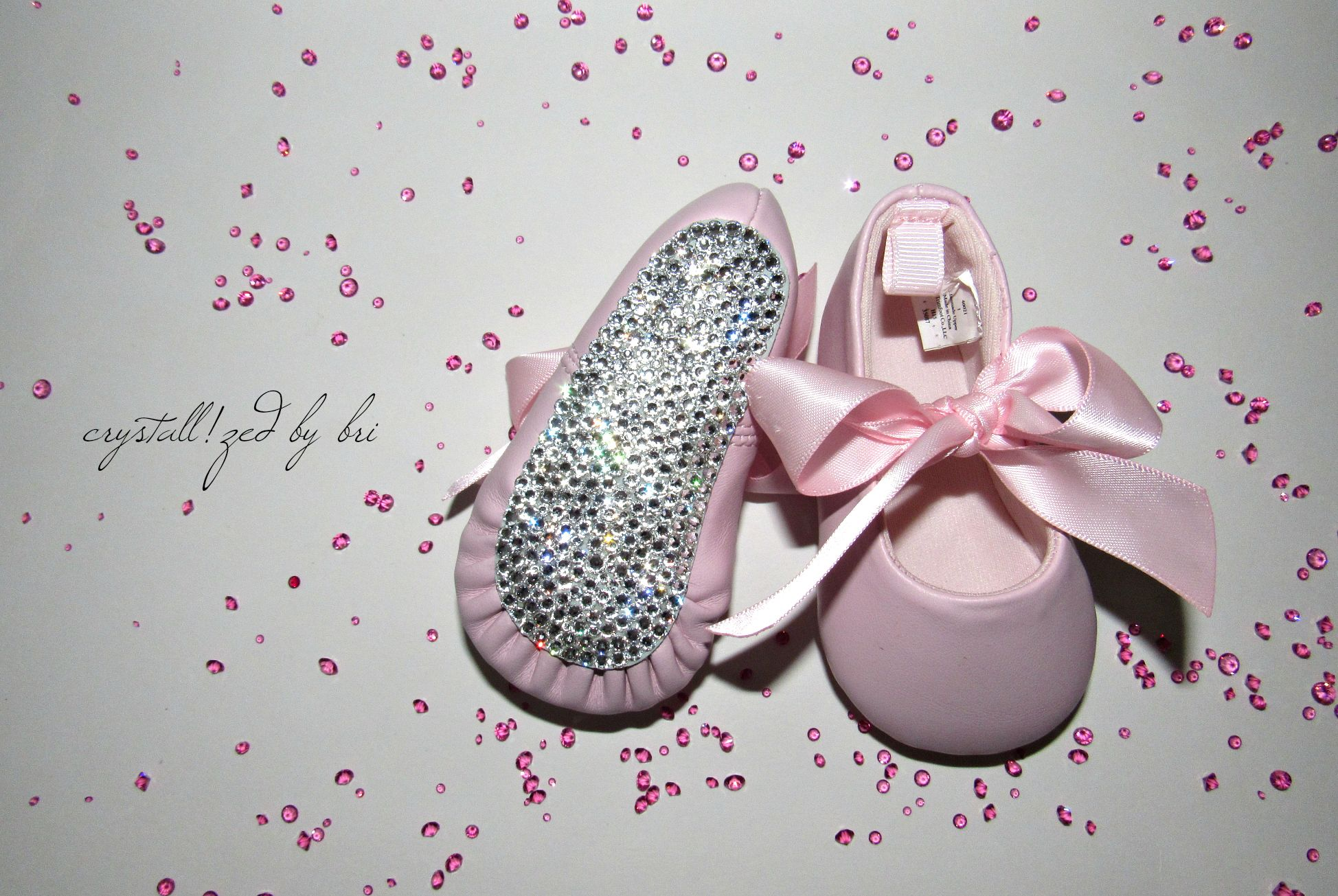 c4bd604641 Custom Made Crystallized Baby Booties Bling Shoes Made With Swarovski  Crystals