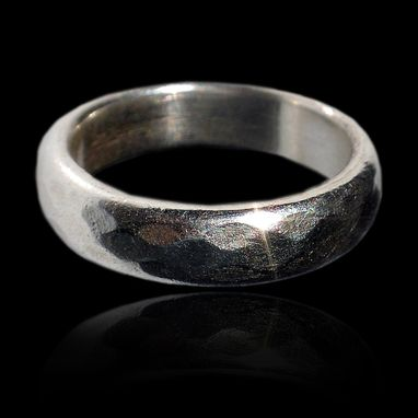 Custom Made Argentium Silver Faceted Band Wedding Band
