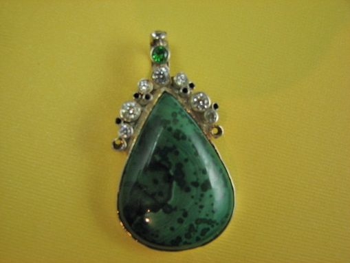 Custom Made Malachite Pear Shaped Stone With Tube Set White And Green Cubic Zirconia