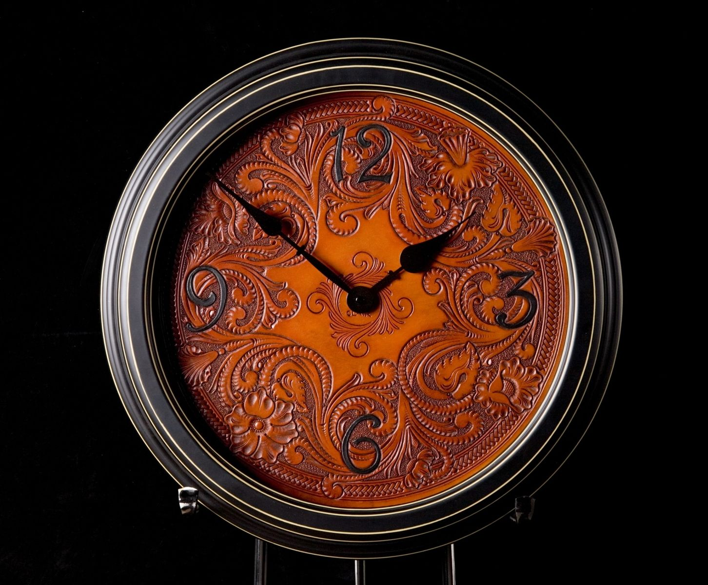 Custom Made Carved Leather Wall Clock By Clair Kehrberg