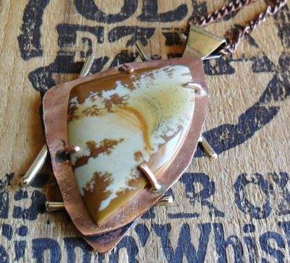 Custom Made Brass And Copper Necklace With Owyhee Jasper Stone