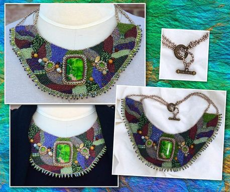 Custom Made Bead Embroidered Necklace In Green And Purple