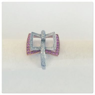 Custom Made Sossi 14k Womens Contemporary Diamond And Pink Sapphire Cocktail Ring