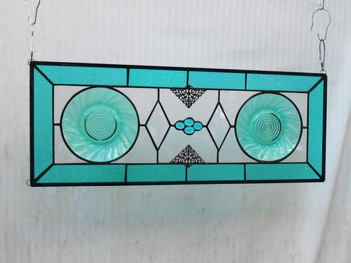 Custom Made Stained Glass Transom Window, Antique Jeannette Ultramarine Swirl Plate Stained Glass Window Panel