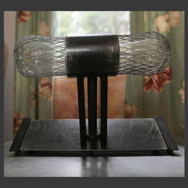 Custom Made Industrial Caged Desk Lamp