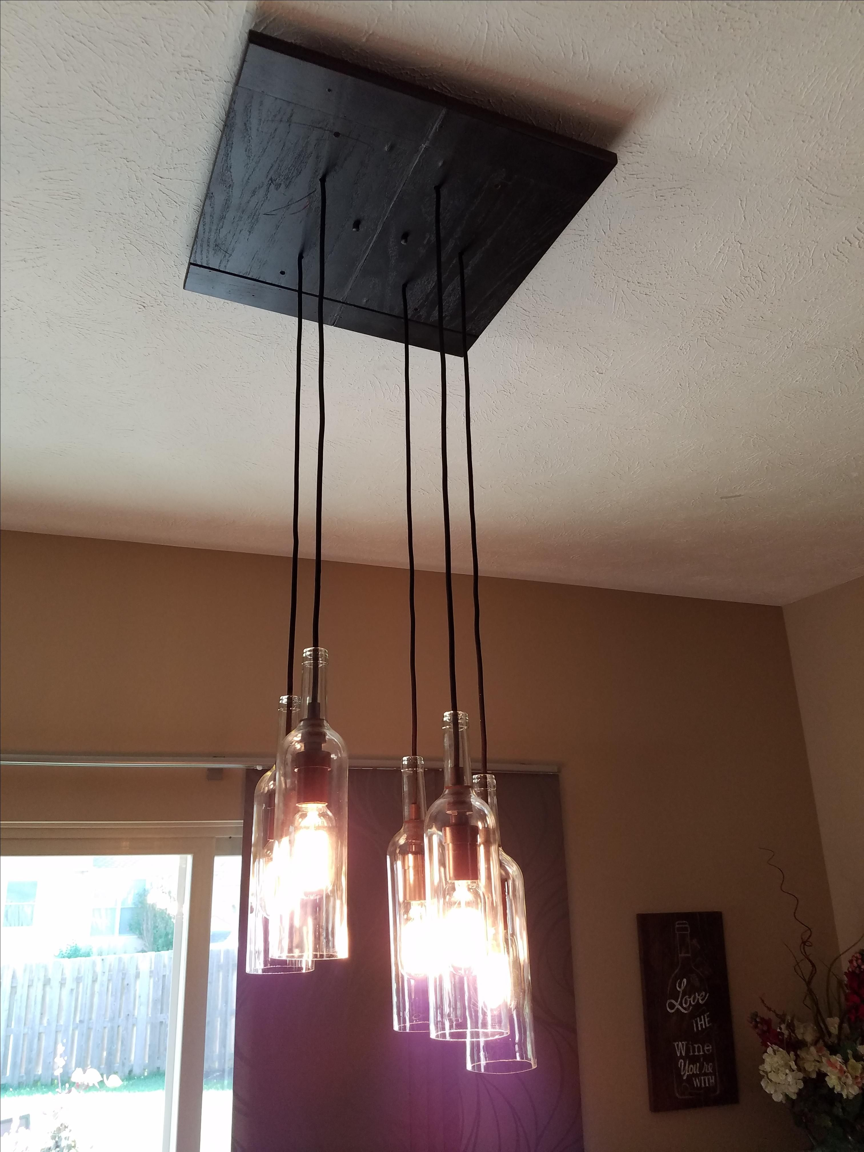 Custom made wine bottle pendant lighting fixtures