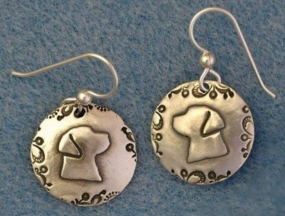 Custom Made Silver Lab Head Earrings With Paisley Border