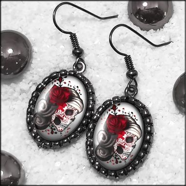 Custom Made Dia De Los Muertos Girl Gunmetal Black Earrings 73-Gmoe