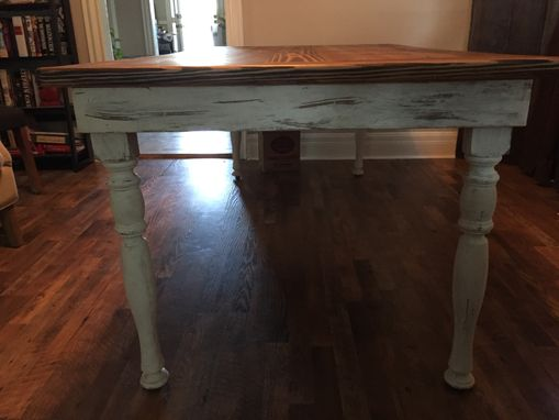 Custom Made Farmhouse Style Dining Tables With Turned Hardwood Legs