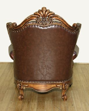 Custom Made Normandy Antique Cherry Jacquard/Leather Ornate Carved Arm Chair W/ Pillow