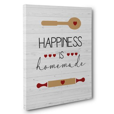 Custom Made Happiness Is Homemade Kitchen Canvas Wall Art
