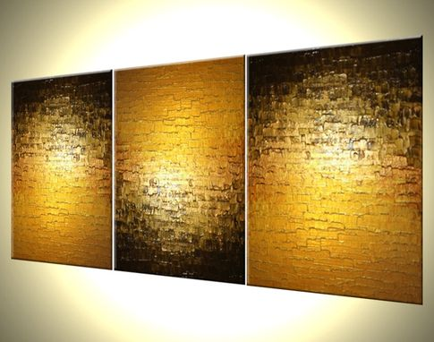 Custom Made Abstract Gold Metallic Textured Original Bronze Reflective Painting By Lafferty - 24 X 54