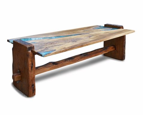 Custom Made Live Edge Rustic Oak With Turquoise Inlay Coffee Table