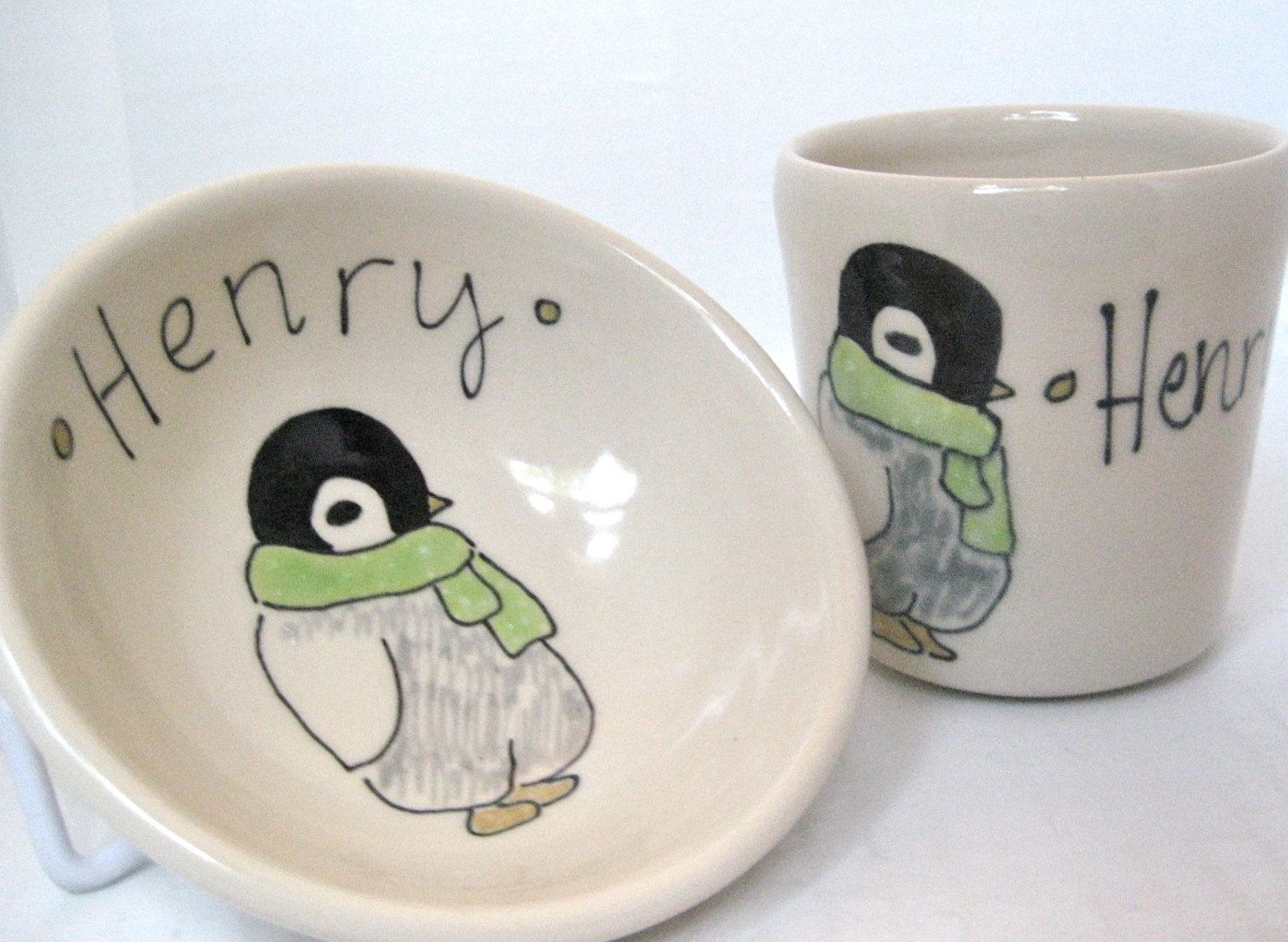 Custom personalized baby gift penguin small bowl and juice cup custom made personalized baby gift penguin small bowl and juice cup personalized set negle Images
