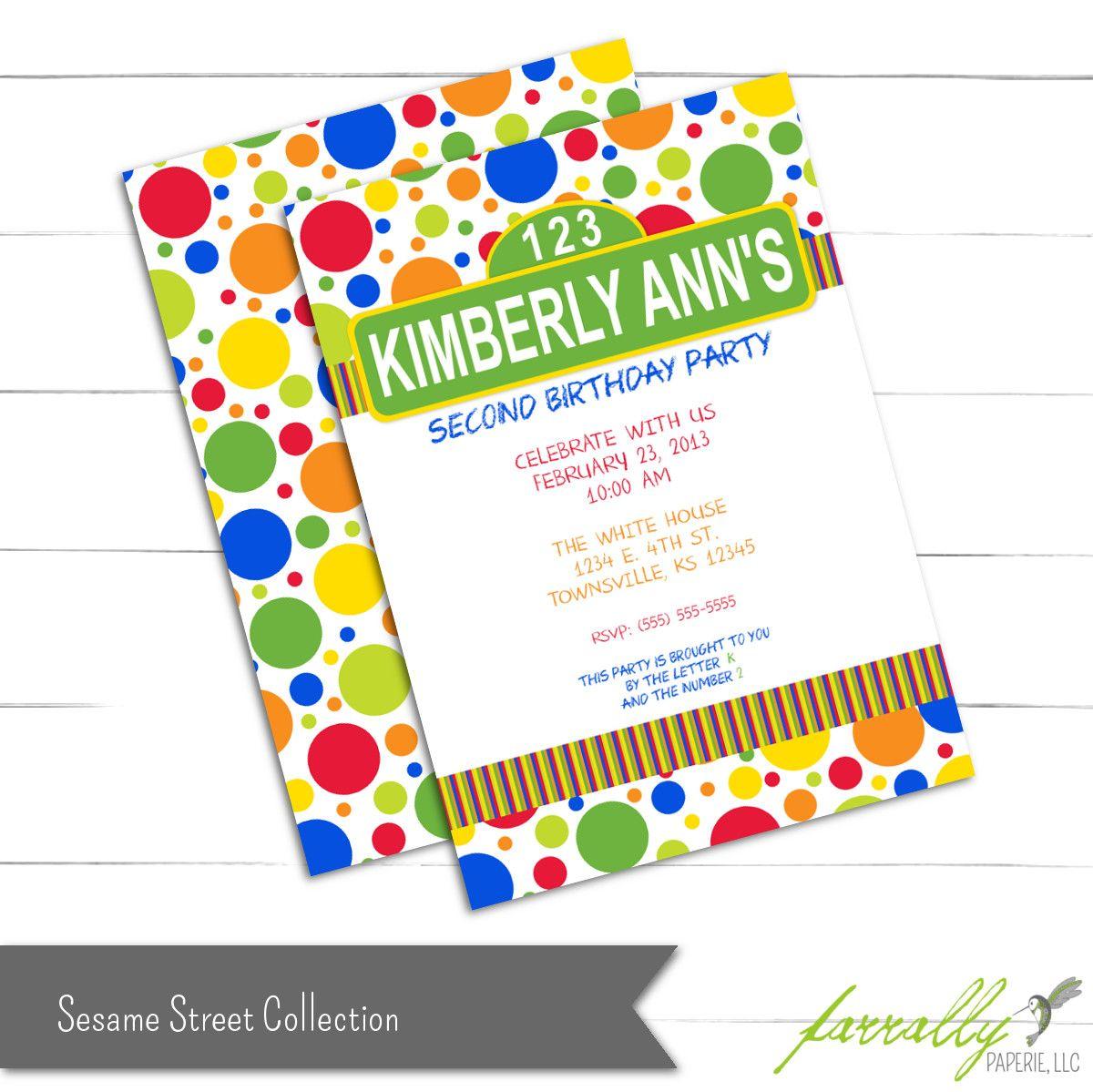 Hand Made Sesame Street Birthday Invitation by Farrally Paperie, LLC ...
