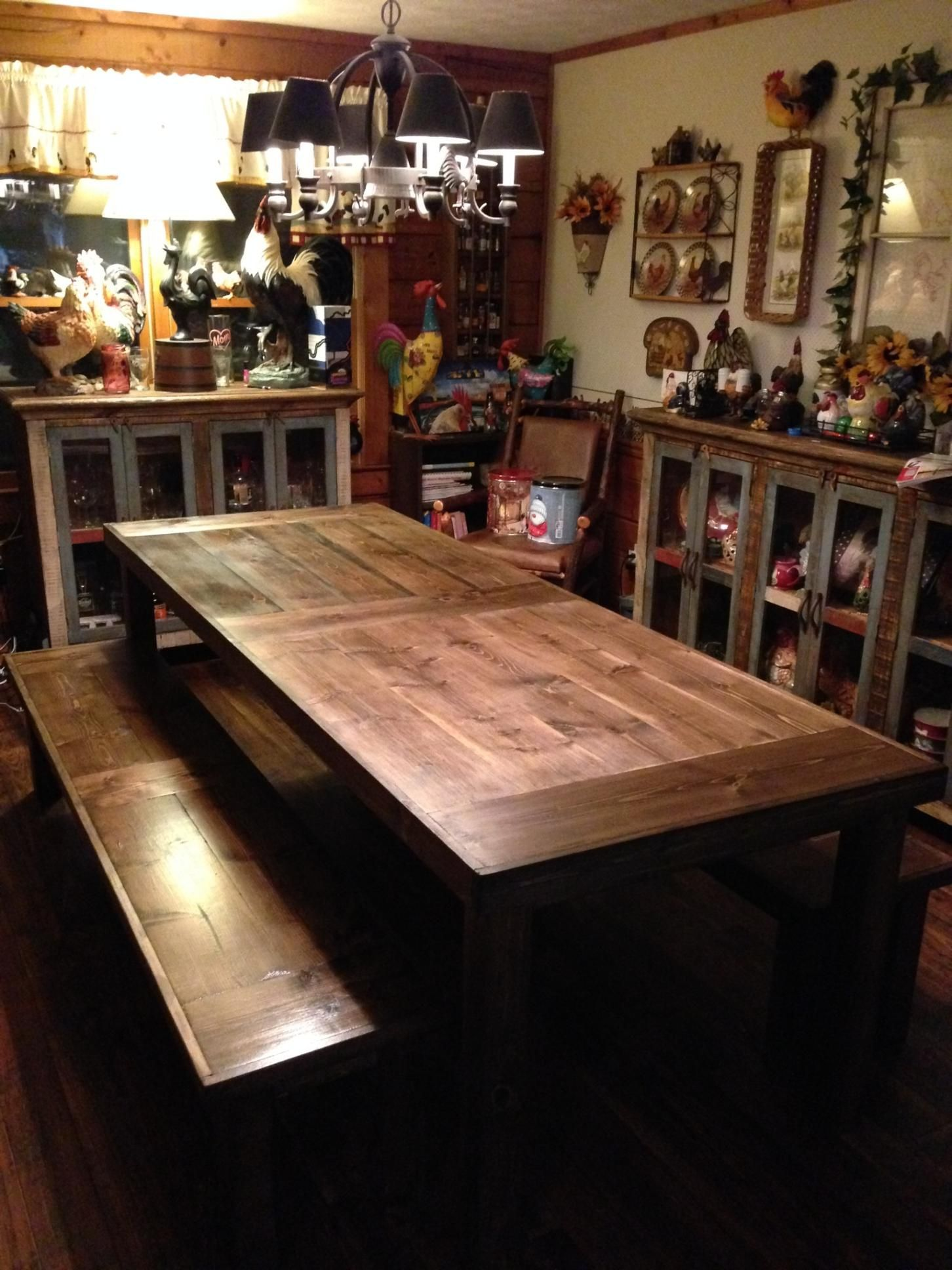 Custom Made 8 Ft 20 Farm Table Dark Walnut With Two Benches