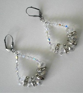 Custom Made Swarovski Crystal Beaded Hoop Earrings