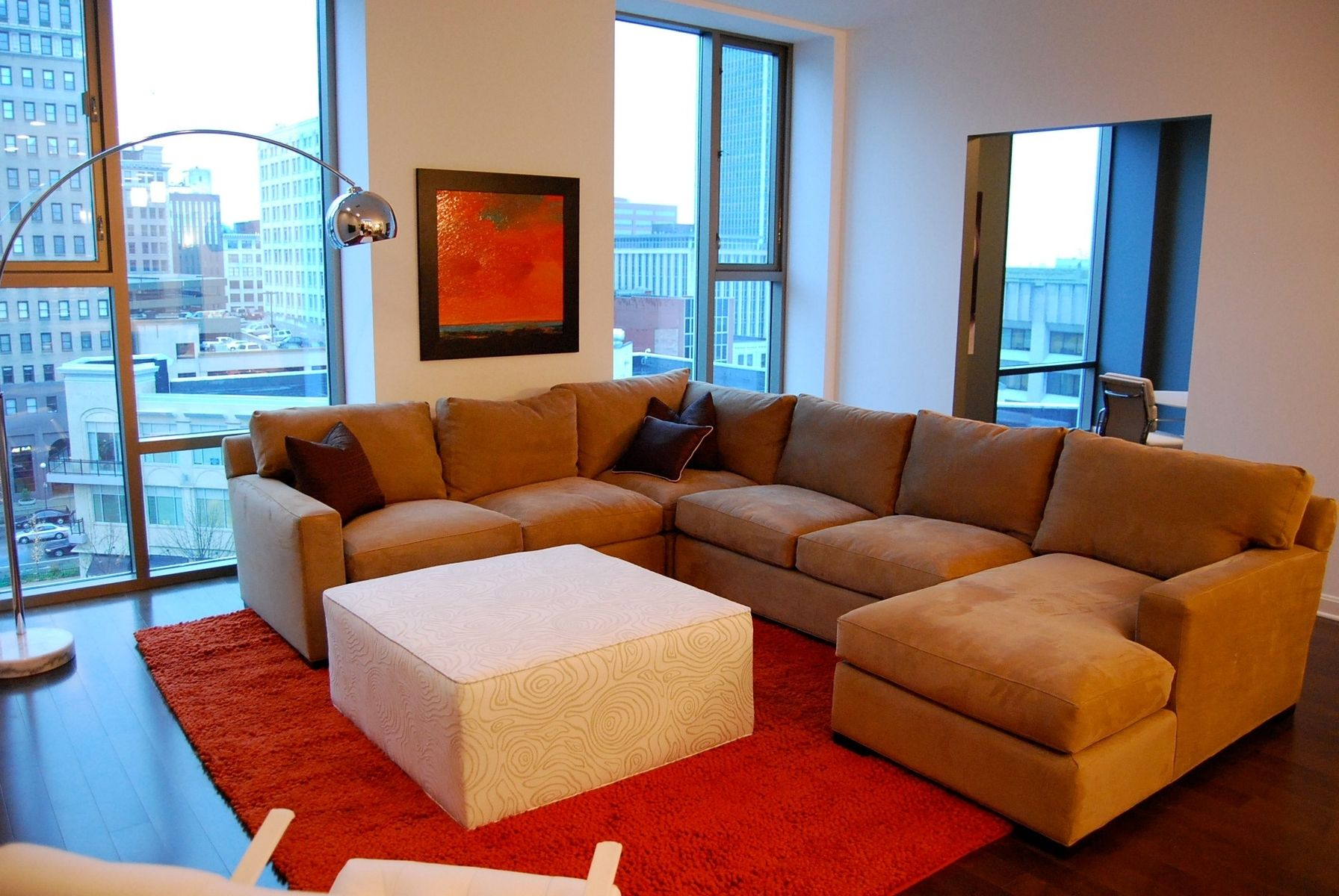hand made custom sectional for model condo by access. Black Bedroom Furniture Sets. Home Design Ideas