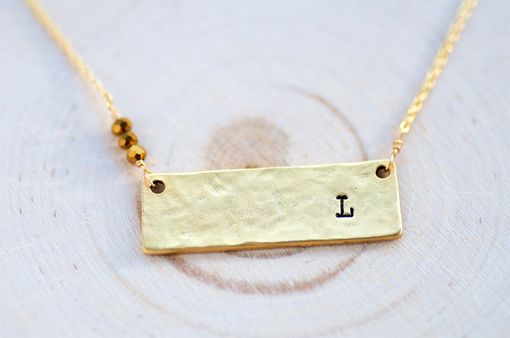 Custom Made Personalized Gold Bar Necklace