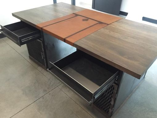Custom Made Modern Industrial Desk With Custom Leather Signature Pad
