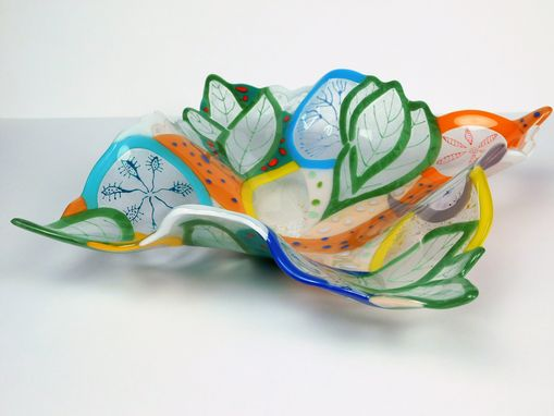 Custom Made A Decorative Fused Glass Bowl Floral