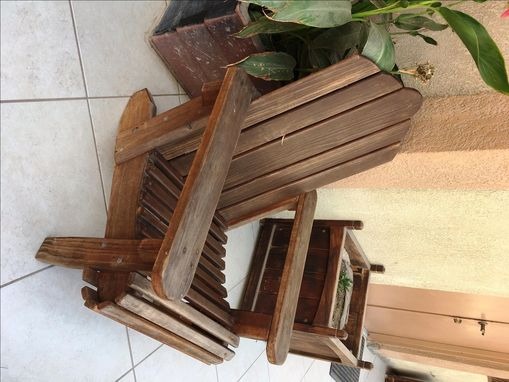 Custom Made Redwood Adirondack Chair - Mahogany