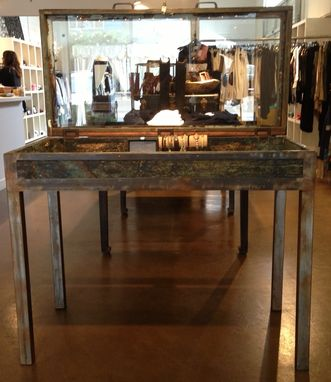 Custom Made Wood And Metal Modern Yet Rustic Display Cases & Furniture