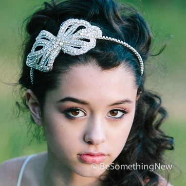 Custom Made Wedding Hair, Rhinestone Bow Tiara, Bridal Head Piece