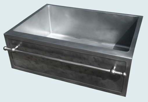 Custom Made Zinc Sink With Framed Apron & Stainless Towel Bar