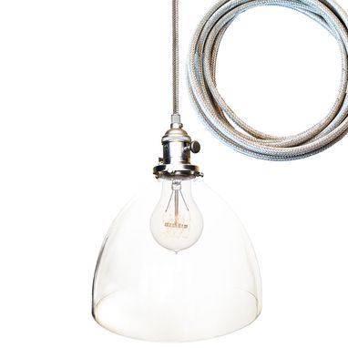 "Custom Made 8"" Clear Hand Blown Glass Bare Pendant Light- Chrome Cord"