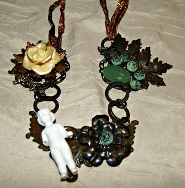 Custom Made Ooak Frozen Charlotte Rusty Black Necklace - Jade Beads - Cold Porcelain