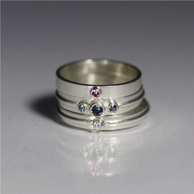 Custom Made Ring Stack Size 6 (Cz, Blue Zircon, Pink Tourmaline)