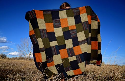 Custom Made Upcycled Wool Sweater Blanket