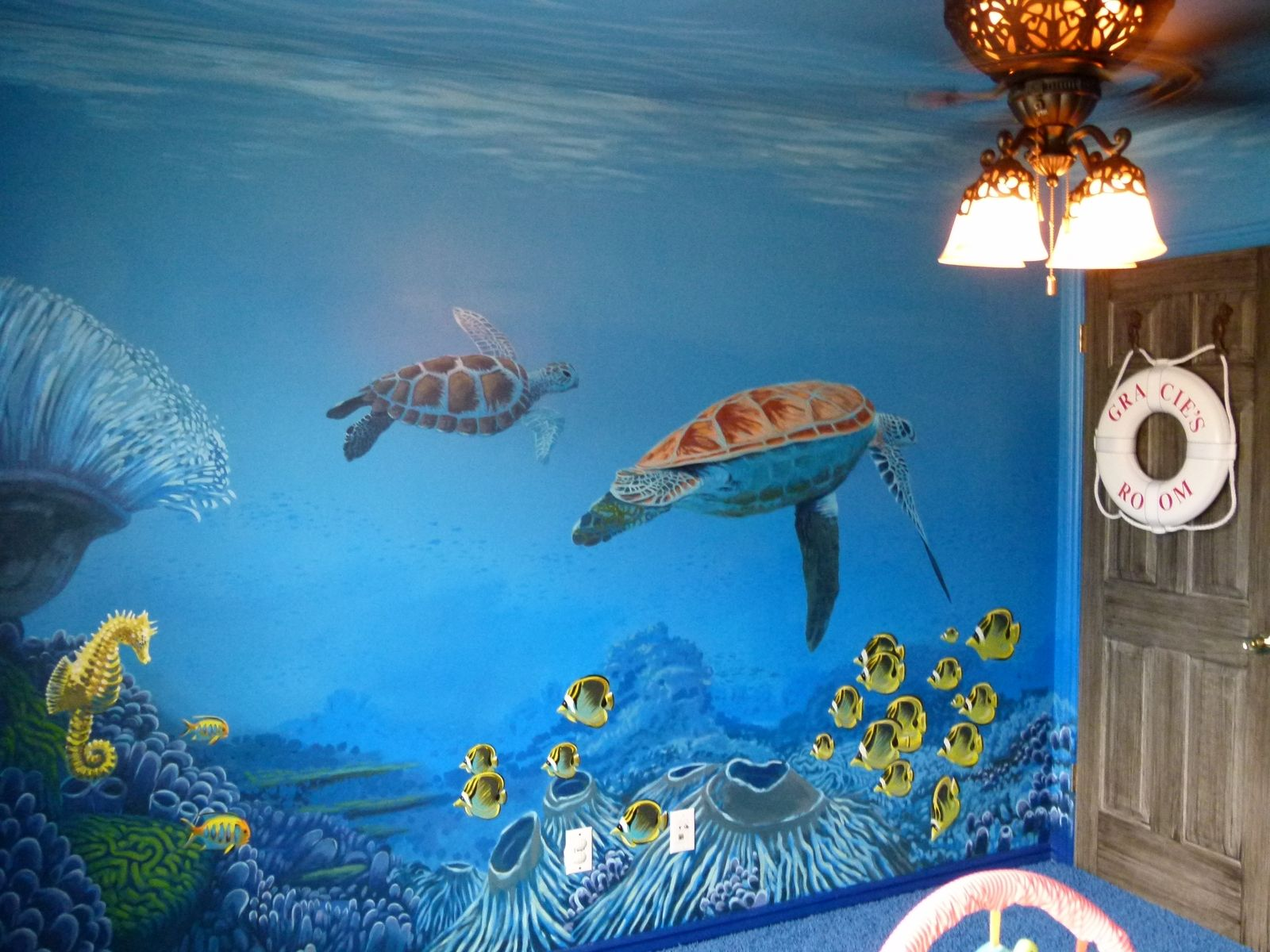 Custom undersea mural hansen residence gracie 39 s room for Underwater mural ideas