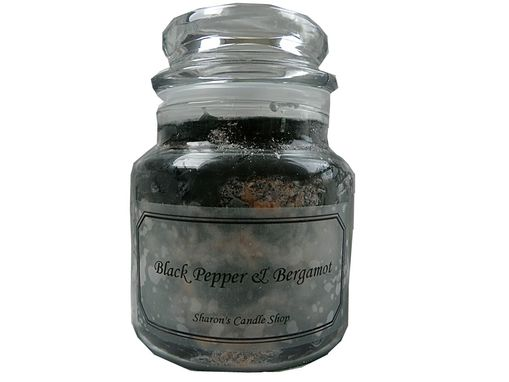Custom Made Black Pepper Bergamot Granite Look Candle