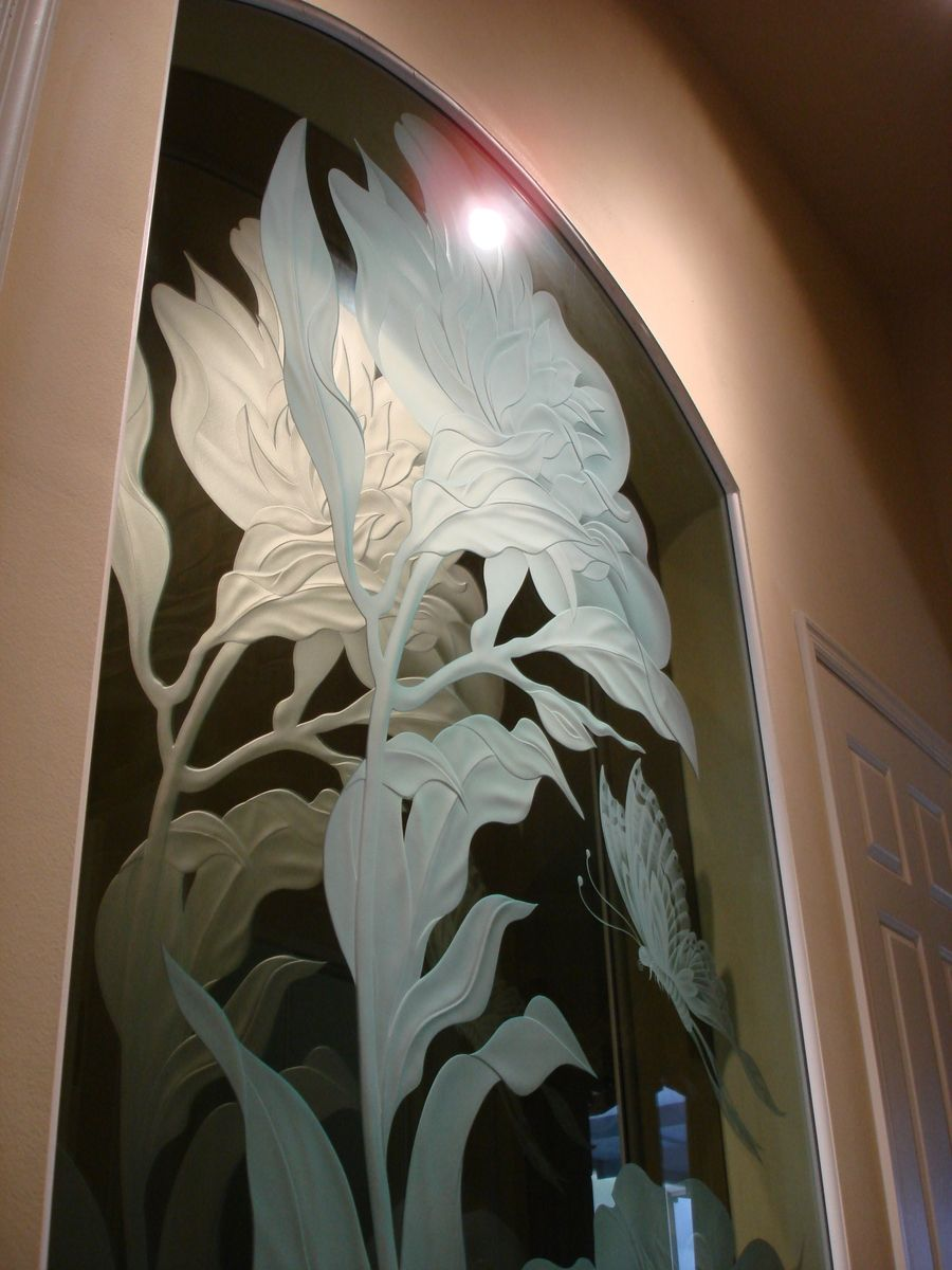 Hand Made Floral Etched Glass Wall Niche Treatment By Art