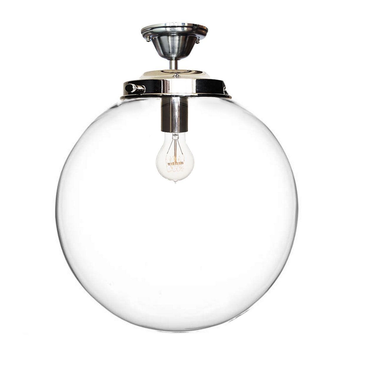 Hand Made 16 Clear Blown Glass Globe Flushmount Light Nickel By