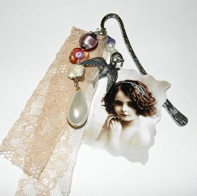 Custom Made Shabby Chic Bookmark - Perfect Mom Gift - Vintage Pic, Silver Plated Bird, Vintage Lace