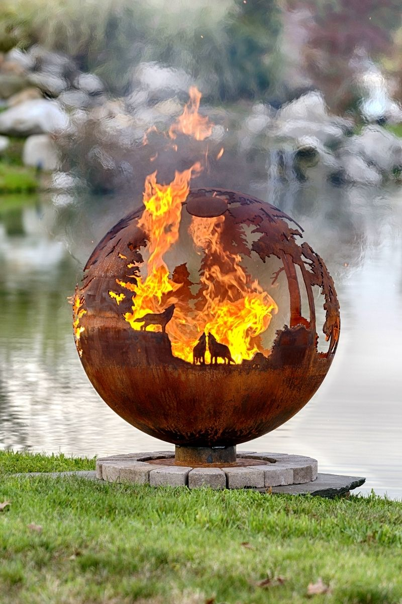 Custom Made Custom Up North Fire Pit Sphere - 37 Inches - Hand Crafted Custom Up North Fire Pit Sphere - 37 Inches By The Fire