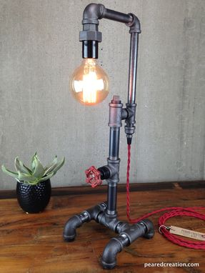 Custom Made Edison Bulb Table Lamp - Industrial Style