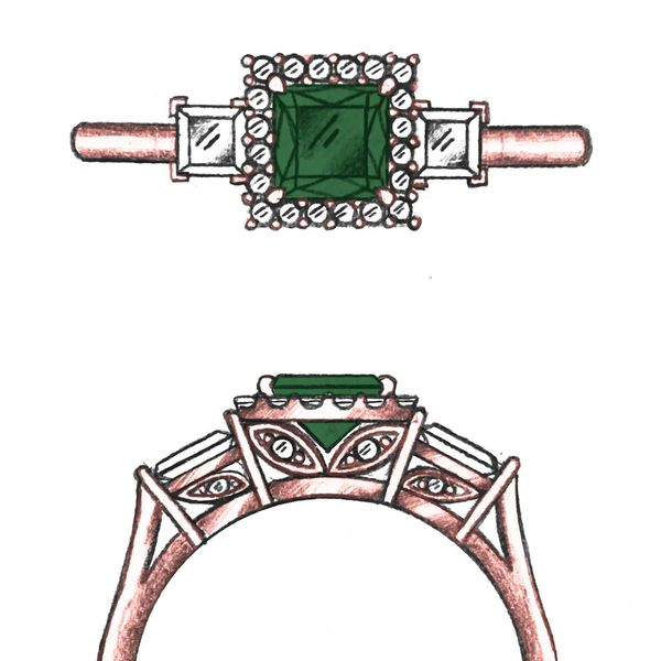 Sketch for a three-stone ring with princess cut green tourmaline and diamonds in a halo setting.