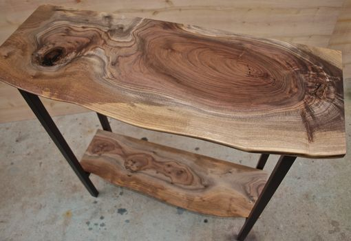 Custom Made Live Edge Walnut Entry Table With Steel Base