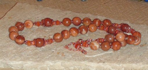 Custom Made Red Malachite And Carnelian Necklace In Copper